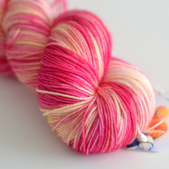 Snapdragon - Hand Dyed Yarn - Sock Yarn - Fingering Weight - Pink and ...