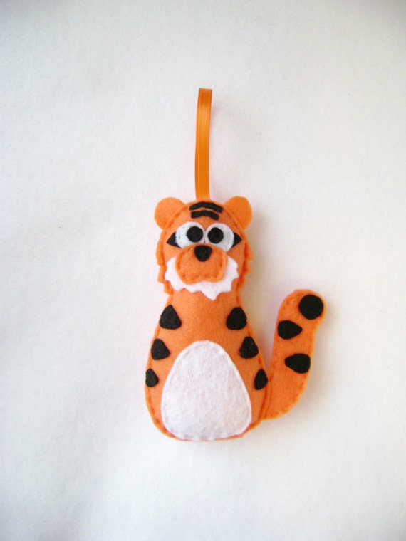 Tiger Ornament, Christmas Ornament, Ted the Tiger, Christmas Decoration, Felt Ornament, Felt Animals