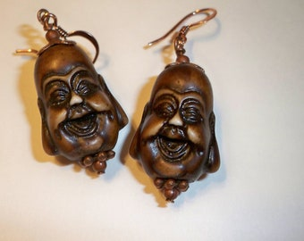 Buddha Earrings with Copper Accents on Laughing Buddha Beads