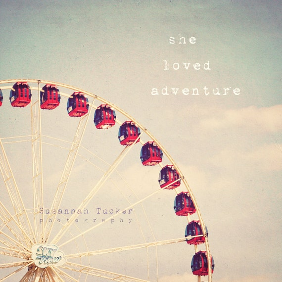 Ferris Wheel decor, typography, fairground,  nursery wall art, girls wall art, typography wall art, for her - She loved Adventure