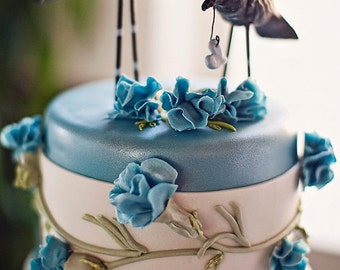 Crows in Love with blue accents Folk Art wedding cake topper Made to Order