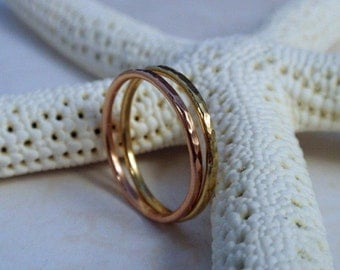 Rose Gold and 18K Gold Ring Band Set of Two