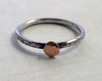 14K Rose Gold and Oxidized Sterling Silver Ring Band Hammered Stacking Ring