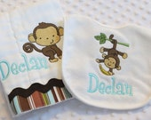 Personalized SET of ONE Burp cloth and ONE Bib featuring an embroidered --- MoNKeY --- personalized with baby's name