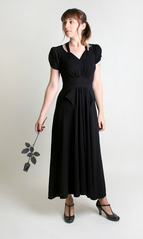 RESERVED - 1930s Maxi Dress - Vintage Handmade Jet Black Cut Out Shoulder Gown - Small to Medium