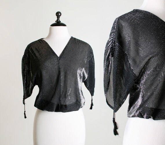 Vintage Disco Blouse - 1980s Silver Sparkle and Black Sheer Dolman Sleeve Top - Small to Medium