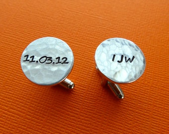 Personalized Cuff links - Initials - Date - Hammered Texture