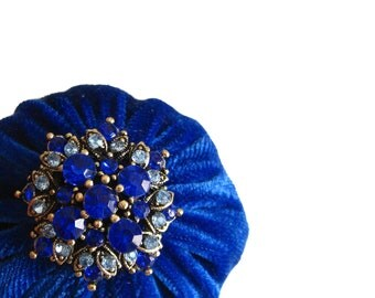 Royal Blue Pincushion filled with Emery Sand / Emery Pin Cushion