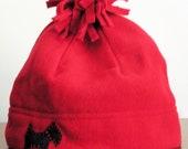Misses Red Fleece Cap with Black Appliqued Scottie