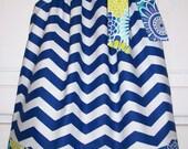 Pillowcase Dress Chevron dress with Flowers Floral dress Beach Ocean Summer dress baby dress toddler dress girls dress Kids Clothes
