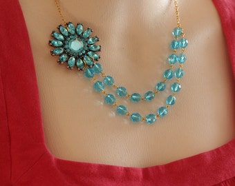 Turquoise Blue Flower Necklace, Free Matching Earrings,Vintage Flower Necklace