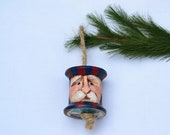 Carved Americana Santa Vintage Thread Spool Ornament Sale