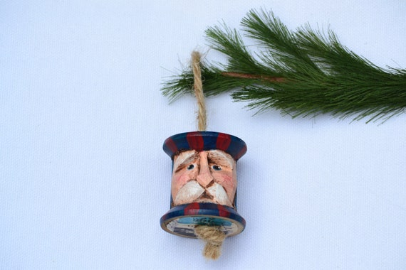 Carved Americana Santa Vintage Thread Spool, Uncle Sam Christmas Ornament Sale
