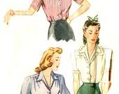 Vintage 40s Set of Blouses Pattern - Simplicity 4356 - Short / Long Sleeves - Size 20