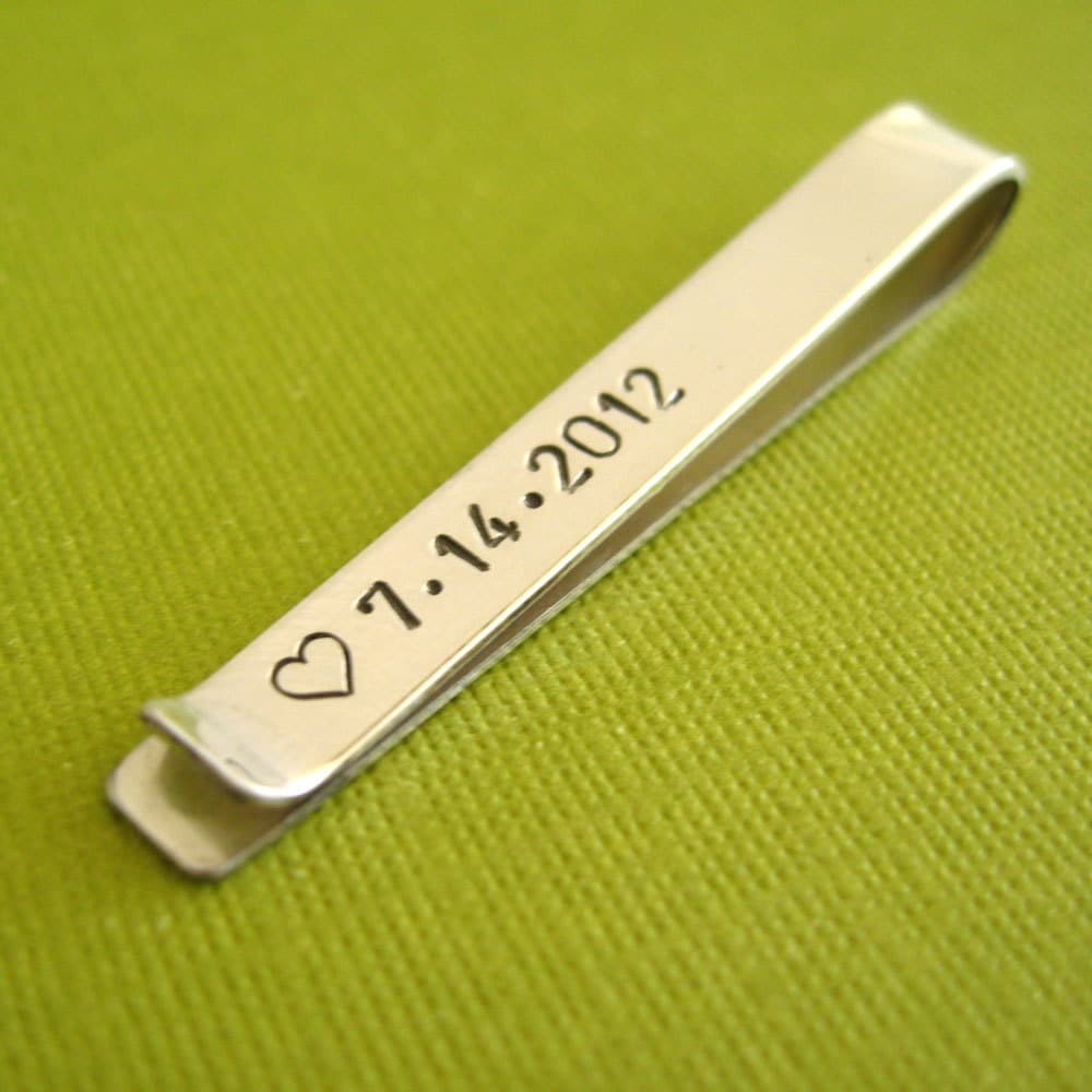 custom tie bar in sterling silver personalized by