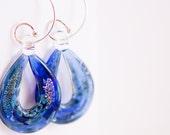 Under the Sea Hoop Earrings - Royal Blue, Free Shipping, Handmade Glass Beads, Laura Mae Jewelry