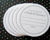 Letterpress Coaster Set - advice for the bride & groom (set of 30)