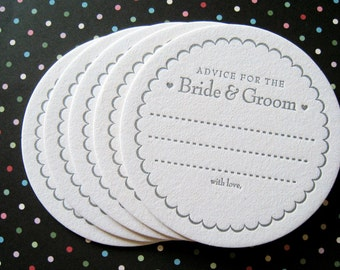 Letterpress Coaster Set - advice for the bride & groom (set of 20)