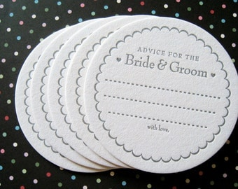 Letterpress Coaster Set - advice for the bride & groom (set of 100)