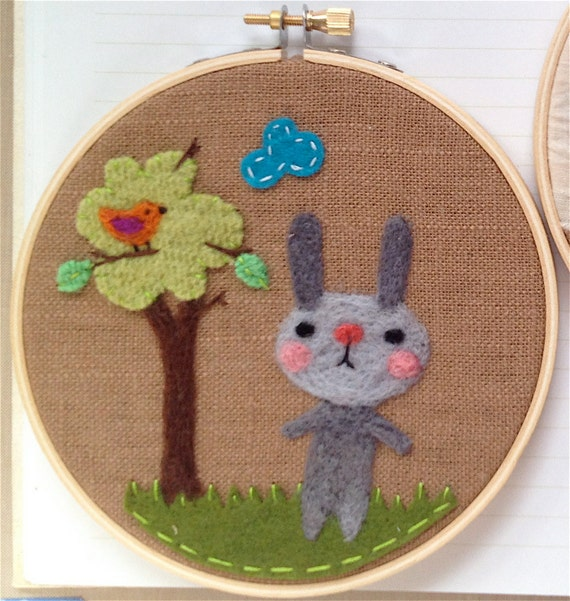 Woodland bunny needle felted embroidery hoop art by val s