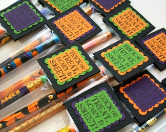 Kids Halloween Favors (24 Pack) - Personalized Halloween Pencil Treat Bags and Toppers -  Party Favors or Trick or Treat - School Gifts