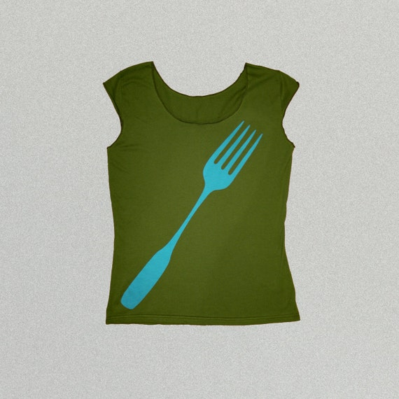Cyber Monday Sale, Olive Green Foodie Fork Womens Tshirt, american apparel womens clothing, gift for her