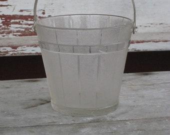 Vintage Mid Century Modern Glass  Ice Bucket Barrel 1960s  (3375-W)