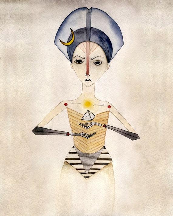 Egyptian Fantasy Watercolor Painting Art Female Pyramid  pharaoh large 16x20 giclee print geometric
