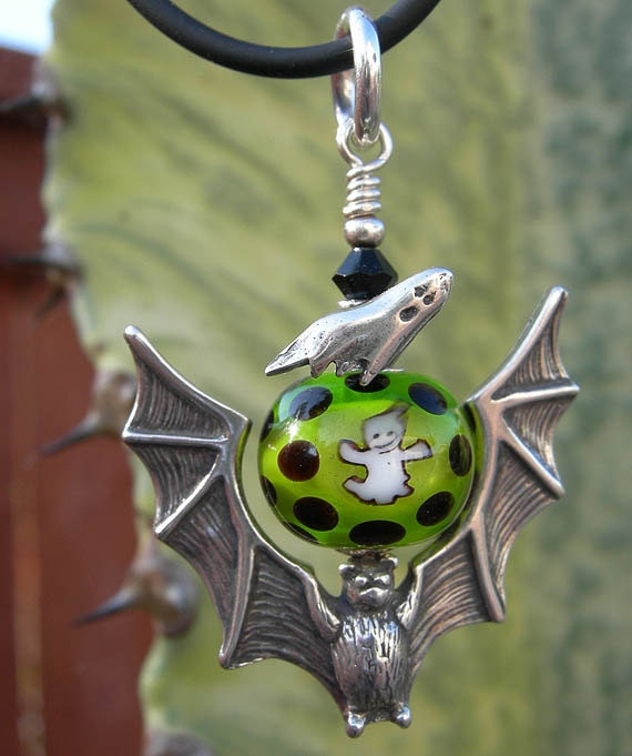 Sterling Silver Bat Pendant with Ghost Murrine