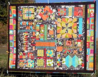 Modern Sampler Patchwork Lap Quilt, Throw Blanket, Twin Bed, Heirloom - A Quilt in Color, Functional Color