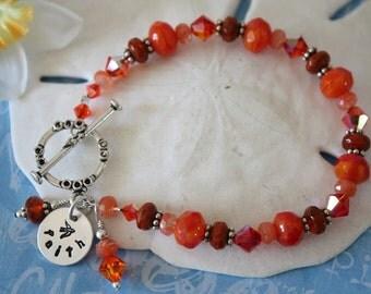 Faith Bracelet Personalized, Grandma Bracelet, Red Bracelet, Orange Bracelet, Faith Bracelet