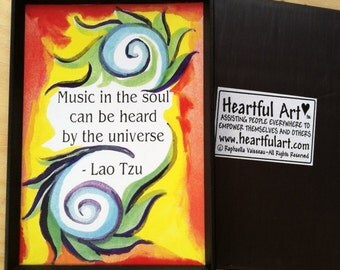 Music In The Soul LAO TZU Motivational Quote Inspirational Magnet Yoga Meditation Spiral Friendship Gift Heartful Art by Raphaella Vaisseau