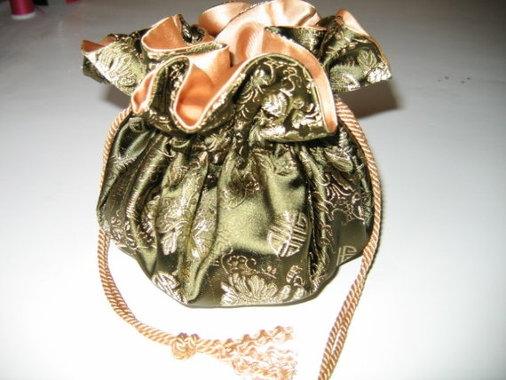 Jewelry Bag jewelry Pouch Jewelry Tote Gold Green Brocade