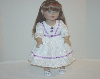 Party Dress  White, Lilac, 3 piece fits 18 Inch Dolls