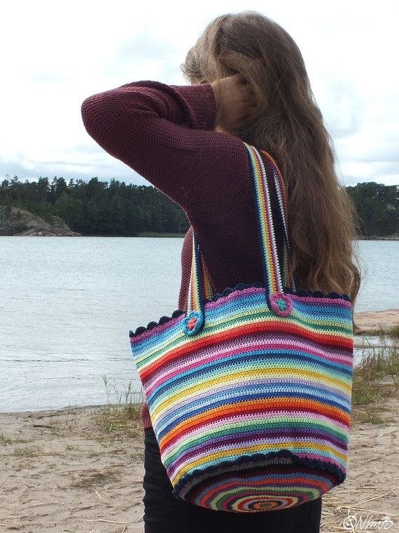 One-of-a-kind Striped Crocheted Tote - MADE IN FINLAND