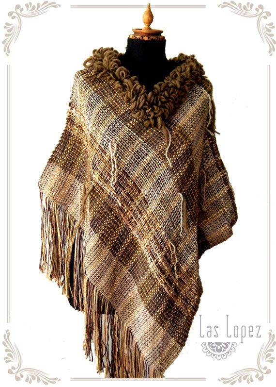 Half-off SALE- CURLY - handwoven poncho wrap cape- in brownish