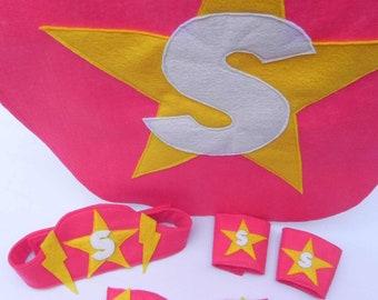 Complete Superhero Costume, Girl Pink- Superhero cape, mask, belt, wrist cuffs
