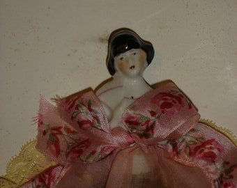 Rare Flapper Half Doll Potpourri Mint on Original Card Possibly German