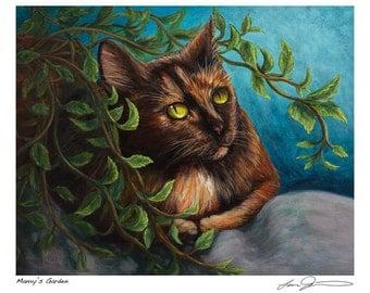 """Tortie Cat Print """"Manxy's Garden"""""""