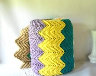 Vintage Blanket Handmade Afghan Blanket Chevron Stripe Multi Colored Blanket Granny Chic  Modern Retro