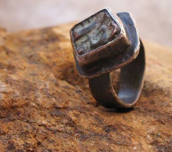 Tiny Ancient India Bronze Coin Primitive Sterling Ring