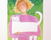 Original Watercolor Painting/ Cat Lady & White Kitty Art by Susan Faye