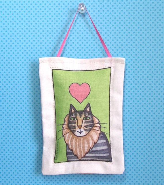 SALE Cat Art Lavender Sachet/ Maine Coon Tabby Cat Ornament by Susan Faye