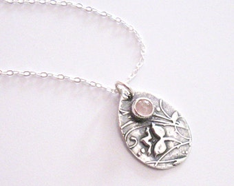 Rose Quartz Gemstone Flower Pendant, Eco Friendly Fine Silver, Sterling Chain, One of a Kind