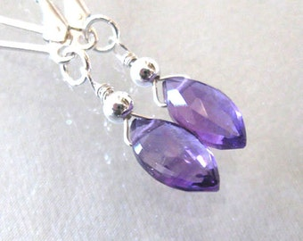 Amethyst Gemstone Drop Earrings, Faceted Marquis Briolettes, Sterling Silver