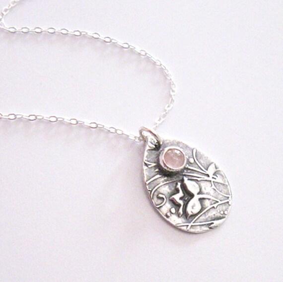 Rose Quartz Gemstone Flower Pendant, Eco Friendly Fine Silver, Sterling Chain, One of a Kind