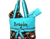Diaper Bag Personalized Monkey Teal Blue Quilted Monogrammed Baby Tote
