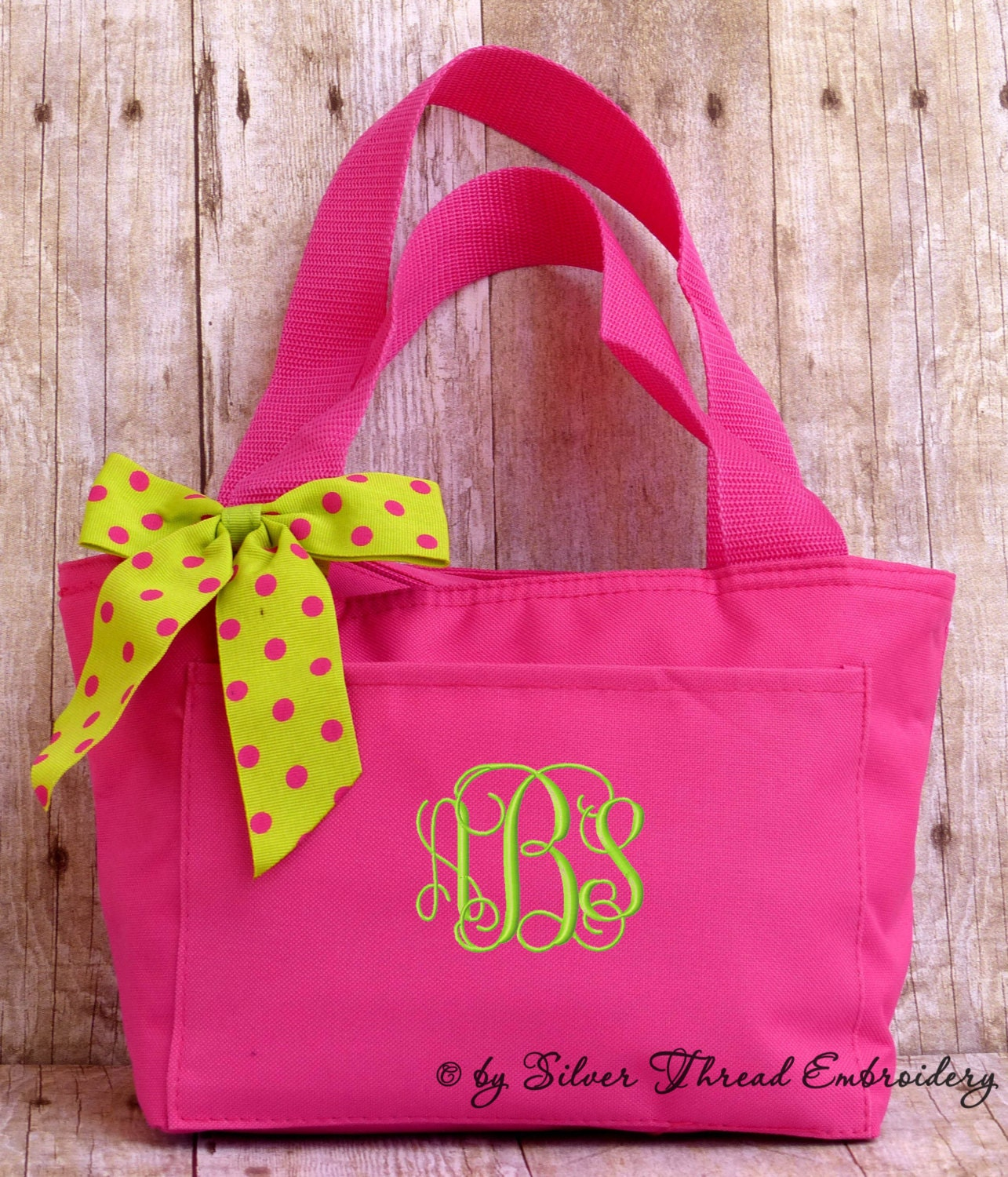 Personalized Lunch Bag Polka Dots Insulated Monogrammed School
