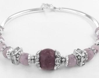 Purple Orchid & Red Rose Bracelet