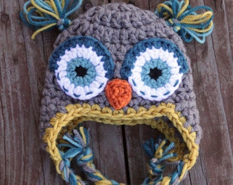 Gender Neutral Owl Earflap Hat for Newborn or 0-3 months Baby Boy or Girl Great Photography orop for photos